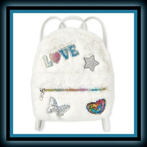 New Girls Embellished Patch Faux Fur Mini Backpack
